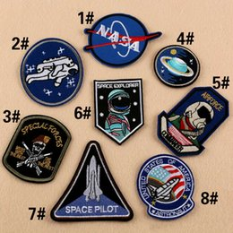 Wholesale Hot Jeans Wholesaler - GP-63 hot sale! Wholesale NASA SPACE EXPLORER Iron On patches AIRPORCE Sew On Patch Jeans Sticker Badge morale patches B&O
