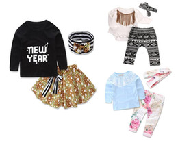 Wholesale Wholesale Striped Tshirts - Girls Baby Childrens Clothing Sets Letters Long Sleeve tshirts+Skirts pants+Headbands 3 Piece Set Fashion Kids Clothes