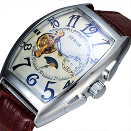 Wholesale Tonneau Skeleton Watch - Wholesale- Sewor Luxury Brand Automatic Mechanical Watch Men Classic Skeleton Mechanical Watch Leather Tonneau Case Fashion watches