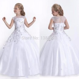 Wholesale Country Beauty - The highest girl beauty Flower Girls' Dresses Vestidos De Comunion beading prom gown satin country wedding maid of honor