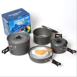 Wholesale Tableware For Camping - 7pieces set Outdoor Tableware Portable Dinnerware Outdoor Camping Cookware Best Fit For 4-5 Person Picnic Pot Portable Pot Sets LJJY99