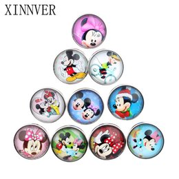 Wholesale Cartoon Claws - Free Shipping DIY Jewelry Mixed Colors 18mm Cartoon Glass Snaps Fit button snaps Bracelets Xinnver Snap Jewelry or necklace ZB312