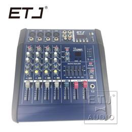Wholesale Dj Powered Mixer Console - ETJ Brand 16DSP Professional 200W 4 Channel Karaoke MINI4P Bluetooth DJ Mixer Mixing console Amplifier Amp with USB 48V Phantom Power Supply