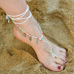 Wholesale Nude Bridesmaids Shoes - Leaves Crochet Barefoot Sandals Beach Weding Nude Shoes Anklets Women Bridal Bridesmaid Party Gifts Lace Foot Jewelry