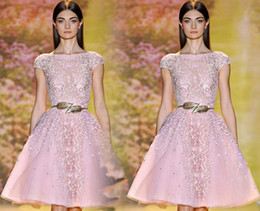 Wholesale Elie Saab Knee - 2016 Short EVENING Dresses A Line Scoop Knee length Tulle Organza Beaded Sequins Crystal Party Dresses Cocktail Dresses Elie Saab