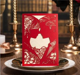 Wholesale Wedding Cards Design Price - New designed Red white color laser cut hollow wed invitations,wedding invitations,wedding card supplies in cheap price via DHL free shipping