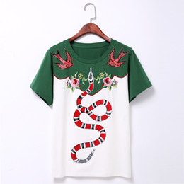 Wholesale White Pattern Shirt - Wholesale- T shirt women 2016 summer new fashion rivet Swallow Flowers embroidery snake pattern White and green 100% Cotton T-Shirt