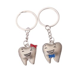 Wholesale Metal Prices Zinc - White Gold Plated Alloy Key Rings tooth teeth dental Wholesale Price
