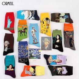 Wholesale Green Acrylic Paint - Wholesale- 2016 Hot 1 Pair Fashion Retro Crew Socks Painting Mona Lisa Art Socks Funny Starry Night Comfortable Designer Socks
