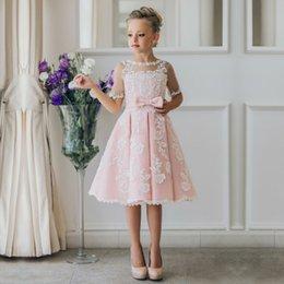 Wholesale knee length white graduation dresses - New Arrival Children Skirt White Lace Princess Flower Girl Dresses lace appliques communion dresses girls pageant dresses