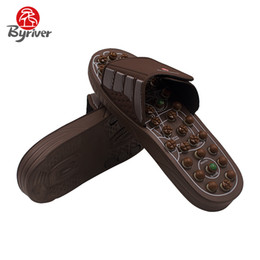 Wholesale Stoned Shoes - BYRIVER New Design Cool Men Women Jade Stone Acupuncture Acupoint Magnet Rotaing Foot Massage Slippers Health Shoes Massager