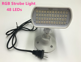 Wholesale Rgb Led Auto Voice Activated - Strobe Light 48 led White RGB Stage Light DJ Disco Strobe Flash Light Christmas Party Voice-activated Automatic Control AC90-240V