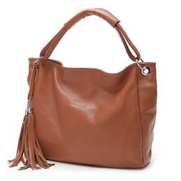 Wholesale Tassels For Handbags - 2017 New Arrival Leather Bag Women Fashion Tassel Handbag Shoulder Bag Woman 2017 Summer Tote Bags for Women with Tassels