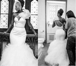 Wholesale One Sleeve Sequin - African Gorgeous Mermaid Wedding Dresses 2017 Sexy One Shoulder Sheer Neck Tulle Beaded Bridal Gowns Plus Size Court Train