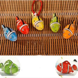 Wholesale Musical Party Supplies - 6 Hole Cartoon Small Clownfish Fish Design Instrument Ceramic Pottery Picket Wind Musical Instrument Beginners Kids Gifts ZA1889