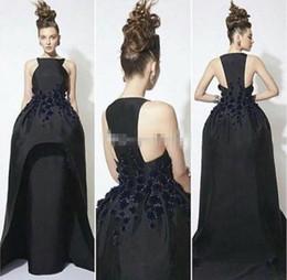 Mode Noir Longue Robes De Soirée 2017 Haut Cou Appliqued Perlée Volants Taffetas Occasion Robe De Fête Sans Manches Arabie Saoudite Prom Robes ? partir de fabricateur