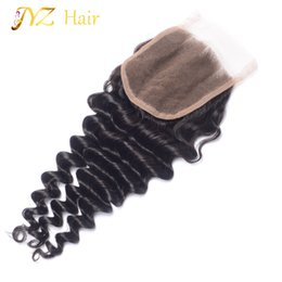 Wholesale 4x4 Swiss Lace Closure - JYZ 4x4 Weft And Wavy Virgin Malaysian Lace Closure swiss lace Malaysian deep wave Closure Bleached Knots for black woman free ship