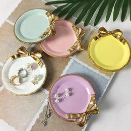 Wholesale Resin Tables - 11*10CM Lovely Golden Bowknot Resin Tray Table Decoration Dish Cake Plate Dessert Coffee Cup Holder Party Wedding Ornament ZA3449