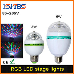 Wholesale E27 3w Colorful Rotating - E27 3W 6W LED lamp RGB Auto Rotating Stage light Holiday Bulb AC85V-265V For Home Decoration Disco DJ Party Dance lighting