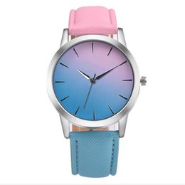 Wholesale Women Watches Colour - Wholesale 2017 two double colours leather fashion women watch Gradient rainbow blue and pink design ladies dress quartz watches