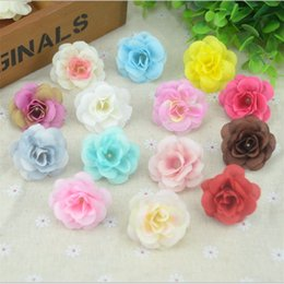 Wholesale Silver Kissing Balls - Wholesale- 100 Pcs 4.5cm Handmade Mini Artificial Silk Rose Flowers Heads DIY Scrapbooking Flower Kiss Ball For Wedding Decorative