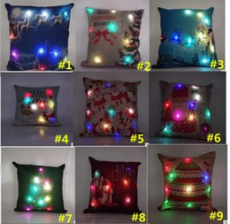 Wholesale Deer Case - Christmas LED Light Linen Pillow Case Santa Claus Deer Gift Light Up Pillowcase 45*45cm Cushion Covers Car Sofa Home Christmas Decoration