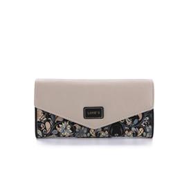Wholesale Envelop Wallets - Fashion Printing Flower Envelop Women Wallet 3 Folding Floral Summer Style PU Leather Wallet Long Ladies Clutch Coin Purse