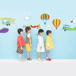 Wholesale Airplane Balloons - Cartoon Airplane and Hot Air Balloons Removable Wall sticker Vinyl Decals For Kids Room Boys Home Decoration