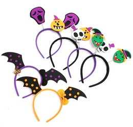 Wholesale Halloween Skeleton Heads - 2017 Halloween Headband Furry Devil Cat Head Hoop Fine Hair Ornaments for Girl Skeleton Hair Accessories Headwear Sexy Hair Band