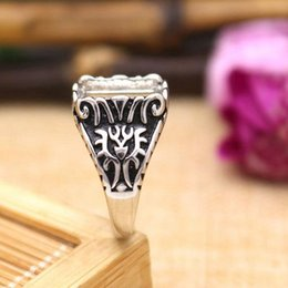 Wholesale Antique Solid Silver - Solid Fine Silver 11x13mm Princess Cabochon Semi Mount Ring 925 Sterling Silver Art Deco Vintage Antique Popular Jewelry