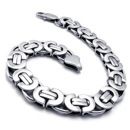 "Wholesale Stylish Men Silver Chains - 8.66"" 10.8MM New Stylish Men Silver Tone Stainless Steel Bracelet Byzantine Box Men Boy Chain Bracelet Jewelry"