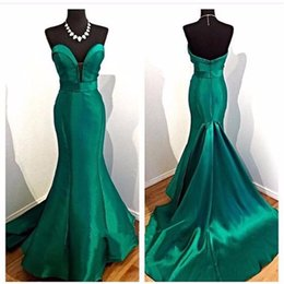 2019 um ombro império cintura vestido de baile Verde esmeralda vestido de noite elegante sereia querida cetim longo sem encosto mulheres vestir prom festa de noite vestido
