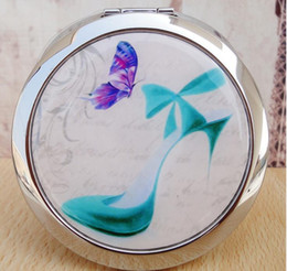 Wholesale Small Hand Mirrors - Cosmetic mirror Folded Portable Small Round Hand Mirror Makeup Vanity Metal