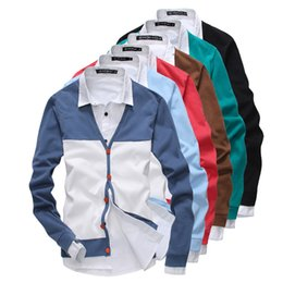 Wholesale Xxl Mens Knit Cardigan - Wholesale- 2014 New Spring Fashion All Match 7 Color Patchwork Cardigan V-neck Mens Sweaters Slim fit Casual Outerwear Man Clothing M-XXL