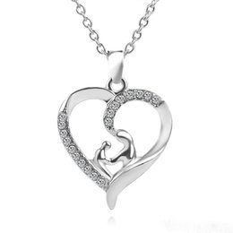 Wholesale Mother Child Charms - 2017 heart necklaces Mother Daughter Mom Baby Child Family Love Rhinestone Heart-shaped Pendant Necklace 12 pcs