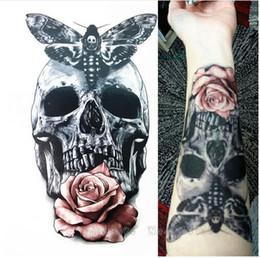 Wholesale Temporary Tattoos Skulls - 2017 21 X 15 CM fashion Temporary Tattoos Skull With Moth And Flower Cool Beauty Tattoo Waterproof Hot Temporary Tattoo Stickers