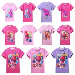 Wholesale Christmas Fashion Tshirts - Newly 11Styles Trolls Kids TShirts Poppy Branch Cartoon Short Sleeve Tee Shirts Girls Top Tees Free DHL Shipping