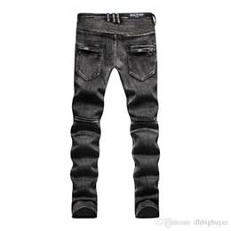 Wholesale Jeans Pant Folding - BLM505 black jeans 2017 new summer men's Slim jeans pants fold locomotive jeans