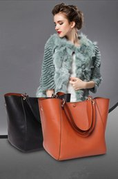 Wholesale Halloween Cosmetics - 2017 New Fashion Luxury Brand Women Large Shopper Tote Handbag With Inside Cosmetic Purse Shoulder Bags Composite 4 Colors WG1075