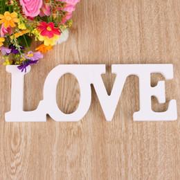 cartas de madeira frete grátis Desconto Letras de AMOR Sinal De Casamento De Madeira Pura Cor Branca Decoração de Casamento Aniversário E Presente Do Partido Frete Grátis