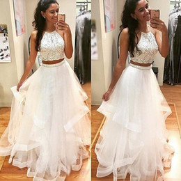 Wholesale Dress Side Open Halter - New White Two Pieces Prom Dresses2017 Halter Neck Long Tulle Crystal Beads 2 Pieces Open Back Party Dress Evening Gowns
