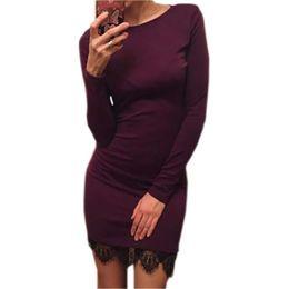 Wholesale Fiesta Christmas - 2016 Women casual vestidos de fiesta Elegant lace solid bodycon dress Christmas evening party long sleeve winter dress LX067