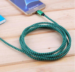 зарядное устройство для шнура Скидка 2m 2a непрерывный металлический нейлон плетеный быстрый заряд Micro USB кабель зарядное устройство данных шнур USB Тип C кабель для смартфонов Tablet PC DHL Free USZ122