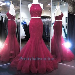 Wholesale Cute Maternity Summer Dresses - 2017 Summer Holiday Two Pieces Mermaid Burgundy Lace Prom Party Dresses Cute Sparkly Backless Spaghetti Fishtail Evening Formal Gowns