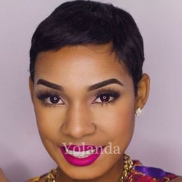 Wholesale Perruque Lace Wigs - New short Pixie Cut wig perruque cheveux humain full lace wigs high density Short human hair lace front wig with bang cheap wigs