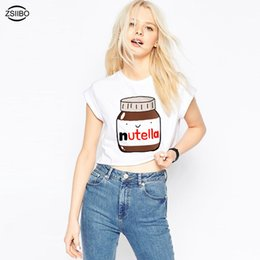 Nueva Cute Nutella Print White Crop Tops Mujeres Summer Short Sleeve T shirt Sweet Cropped Tops desde fabricantes