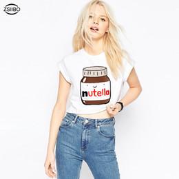 chemises de coupe mignonnes Promotion Nouveau mignon Nutella impression blanc culture Tops femmes d'été à manches courtes T-shirt douce fille recadrée