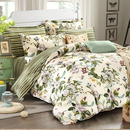 Wholesale Elegant Girl Bedding Sets - Designer European Rustic Flowers Jacquard Bedding Set,Elegant Striped Bed Sheet Set,Modern Girls Duvet Covers,4Pcs