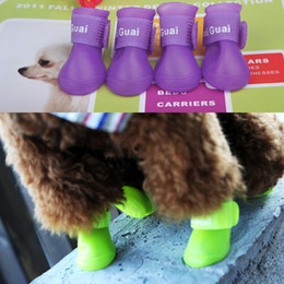 Wholesale Teddy Rubber Shoes - Smale dogs Cat Teddy Pet dog shoes antiskid Candy color Waterproof Protective Rubber Pet rain boots galoshes