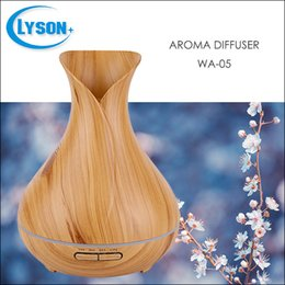 Wholesale Wood Box Vase - Wood Grain Series 300Ml Vase Shape Plastic Aroma Humidifier With Led Light 3 Mode Timer Essenstial Oill Diffuser